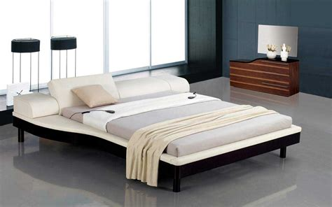 Modern Headboards Portofino White Modern Bed With Adjustable Leatherette