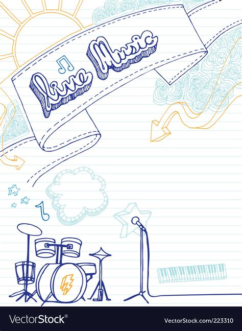 musical doodle free vector live doodle royalty free vector image vectorstock