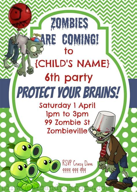 Plants Vs Zombies Invitation Template plants vs zombies birthday invitation arg brains