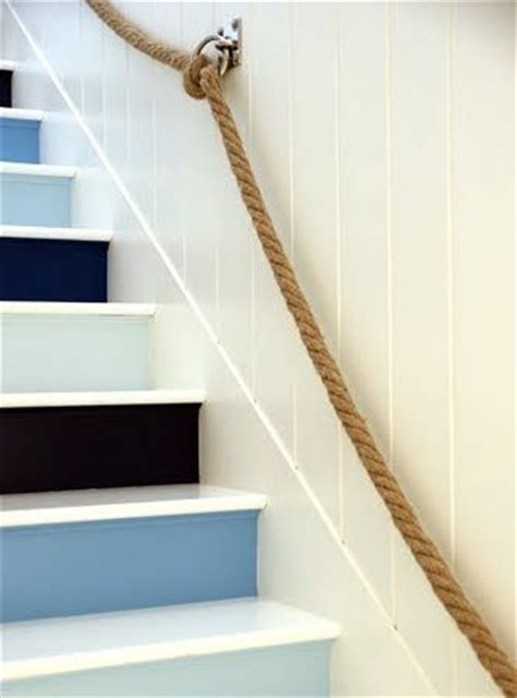 rope banister rail nautical staircase with rope railing diy pinterest