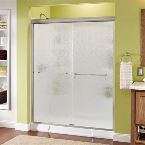 Delta Shower Door Delta Portman 60 In X 70 In Semi Frameless Sliding Shower Door In Nickel With Glass