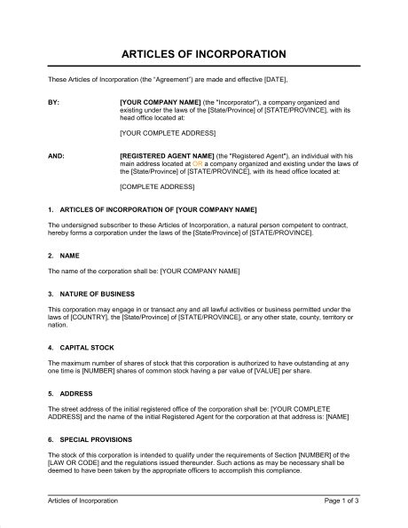 Articles Of Incorporation Template Sle Form Biztree Com Articles Of Organization Florida Template
