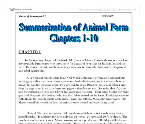 book report on animal farm by george orwell animal farm book report summary animal farm notes