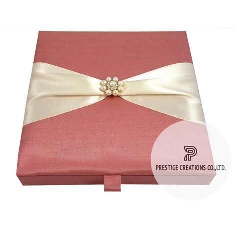 silk wedding invitations thailand pearl brooch silk wedding box for invitation cards