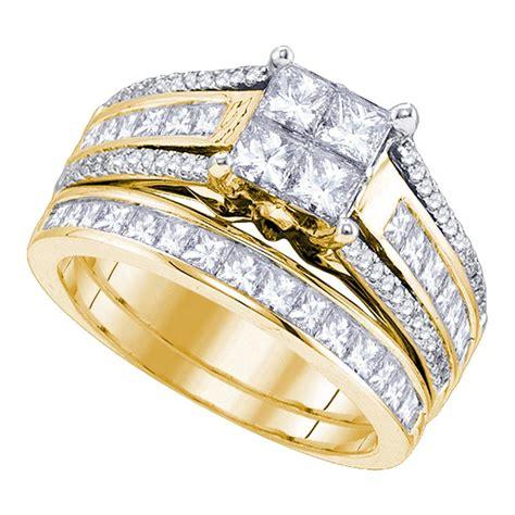 kt yellow gold womens princess diamond cluster bridal wedding