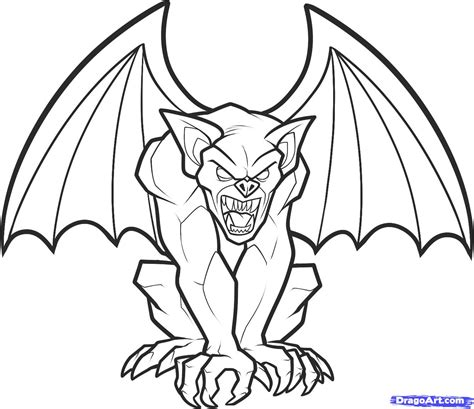 how to draw a gargoyle step by step creatures monsters