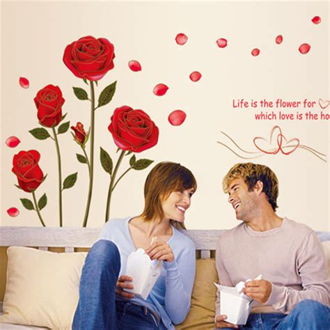 romantic red rose flowers wall decals living room bedroom creative romantic red roses flowers vinyl wall stickers