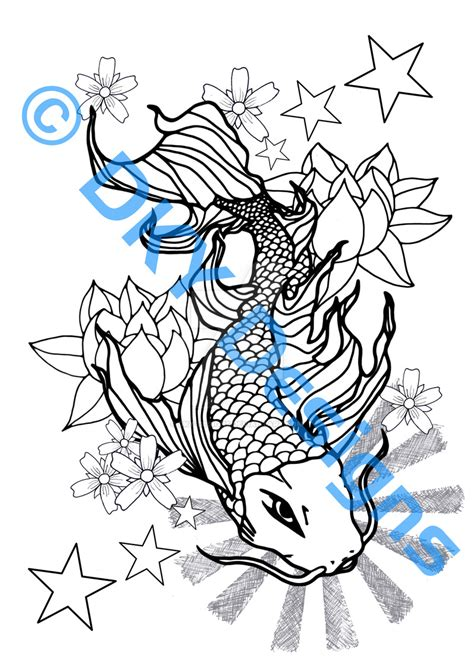 koi carp tattoo with stars by dky designs on deviantart