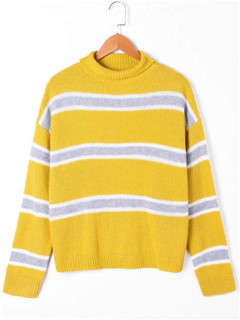 yellow pattern sweater striped drop shoulder turtleneck sweater yellow sweaters