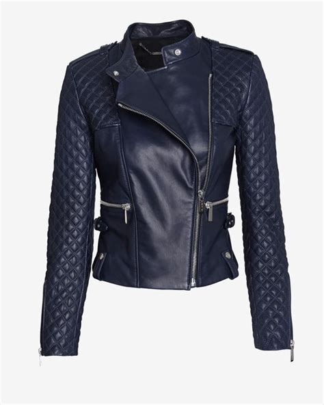 barbara bui leather jacket barbara bui exclusive moto leather jacket navy in blue navy lyst
