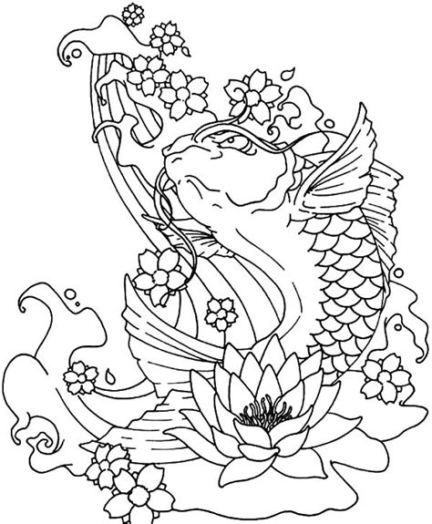 koi fish jumping   water coloring pages