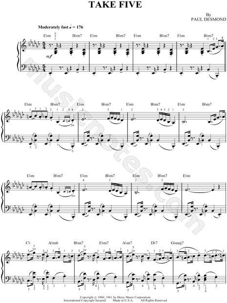tutorial piano take five dave brubeck quot take five quot sheet music in eb minor