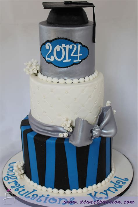 Blue Silver Graduation Cake Sweet P Ion Cakery