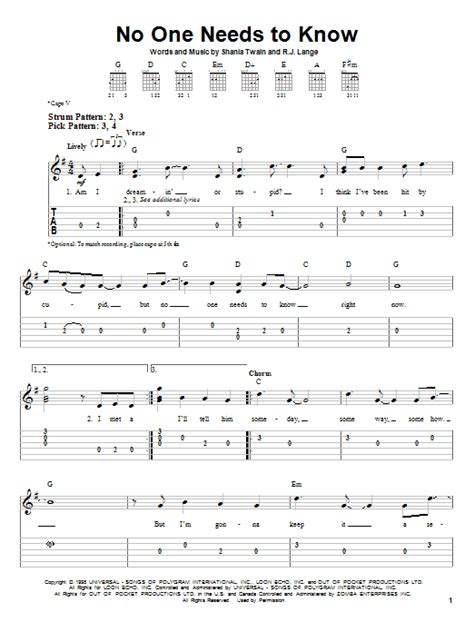 No One Needs To no one needs to by shania easy guitar tab guitar instructor