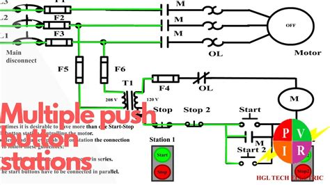 multiple push button stations  wire control multiple stations circuit diagram start stop