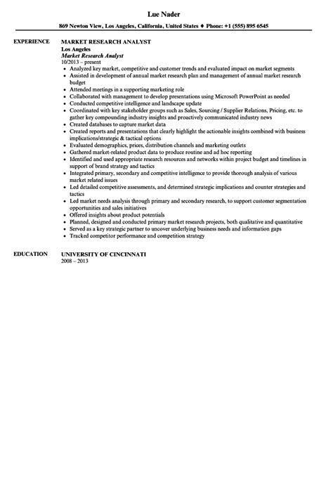 Market Research Resume by Market Research Analyst Resume Sle Velvet