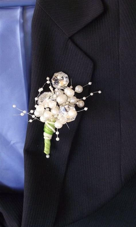 Boutonniere For Prom by Mirrored Rhinestone Boutonniere Grooms Boutonniere Pearl
