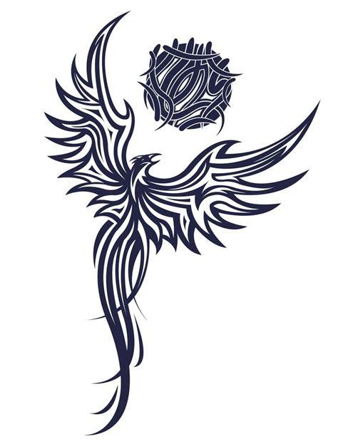 tribal phoenix tattoo meaning impressive black tribal flying stencil