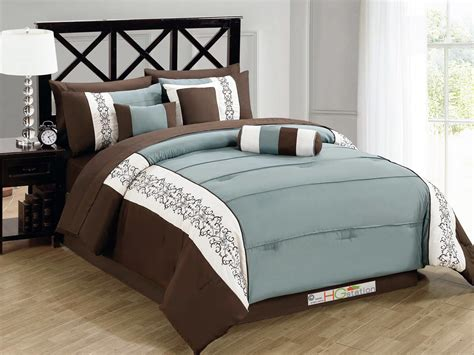 7 pc pintuck scroll floral embroidery comforter set brown