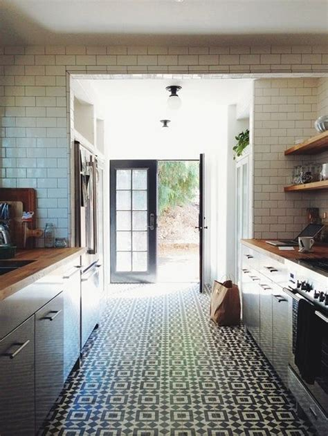kitchen floor tile designs for a perfect warm kitchen to patterned floor and white subway tile make this the