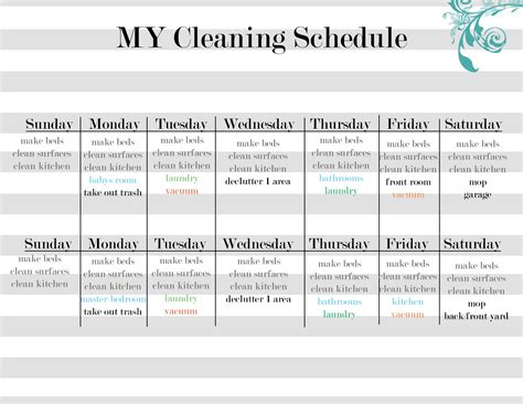 cleaning calendar template free printable work schedule template