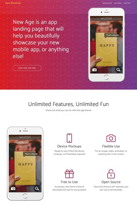 15 Free Bootstrap Landing Pages Templates Bootstrap App Landing Page Template