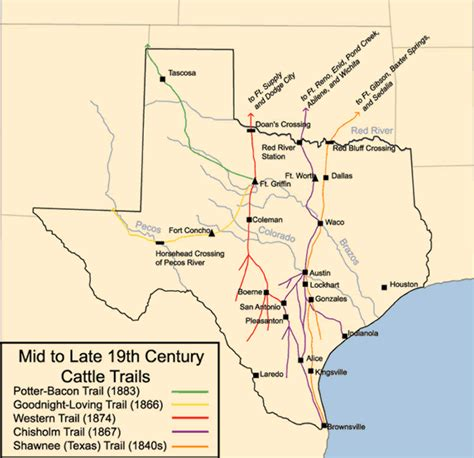 texas cattle trails map mid to late 19th century cattle trails in texas map texas mappery