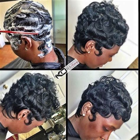 black hairstyles with finger wave sides and curls on top finger wave curls hairstyles for black women