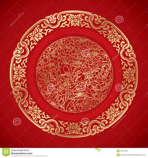 wallpaper classical elements chinese vintage elements on classic red background stock