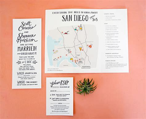 Hand Lettered San Diego Wedding Invitations