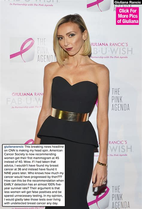 Giuliana Rancics Brave Breast Cancer Battle by Giuliana Rancic On New Breast Cancer Guidelines Why G Is