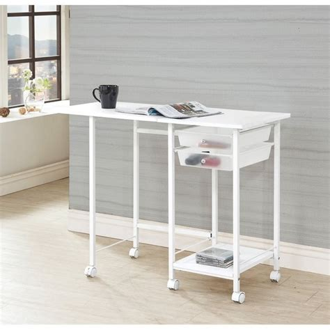 roll away computer desk coaster 2 folding desk with casters in white 800430