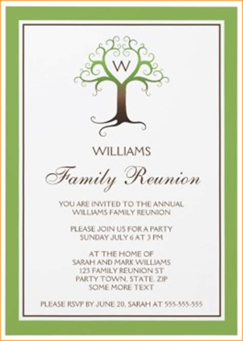 family reunion letter template best free home design