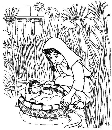 moses coloring pages preschool baby moses floated on the river coloring pages