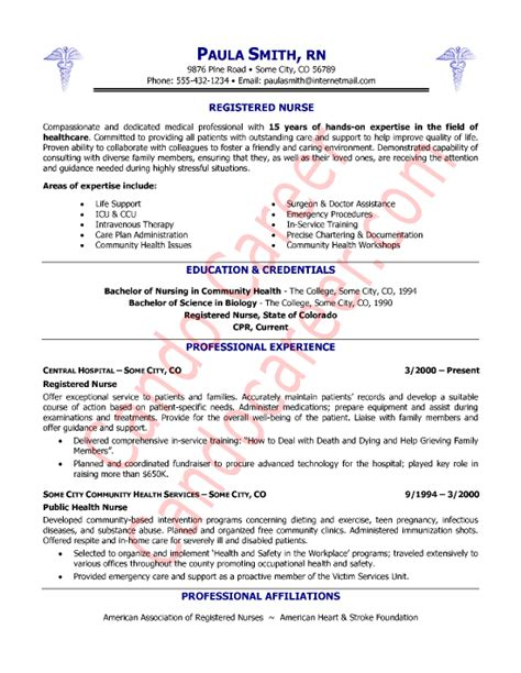 Exles Of Nurses Resumes by Registered Resume Sle