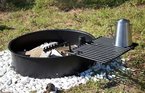 24 Quot Steel Fire Ring With Cooking Grate Cfire Pit Park Pit Ring With Grill