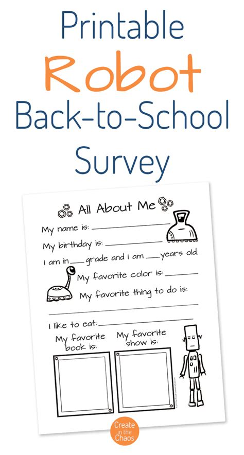 printable questionnaire school robot themed back to school survey create in the chaos