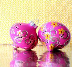 pink ornaments clearance two pink painted glass ornaments