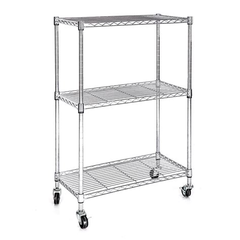 heavy duty chrome 3 tier wire shelving rack cart unit w