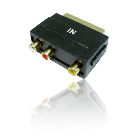 Adapter Converter Tv Switch Box Rca 3 Input 1 Output B9 scart in input a 3 x rca phono tv convertitore