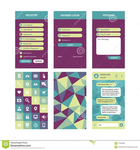 mobile interface vector template in flat style for