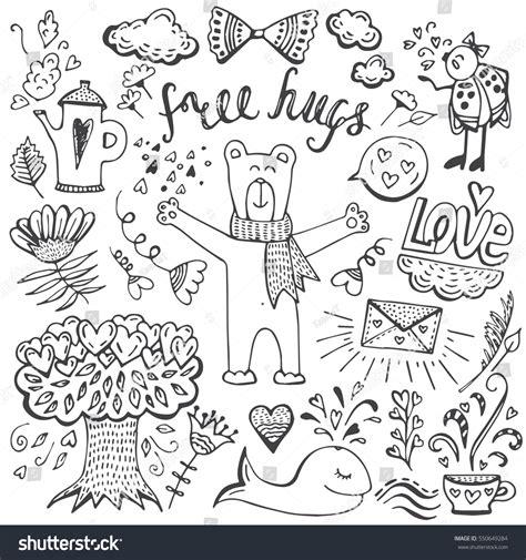 doodle romantis elements doodle style valentines stock