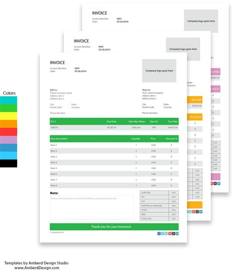 Free Adobe Illustrator Invoice Templates Amberd Design Studio Illustrator Email Template