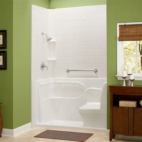 Bathtub Shower Stall Combination Shower With Seat And Grab Bar Small Lip For Entry