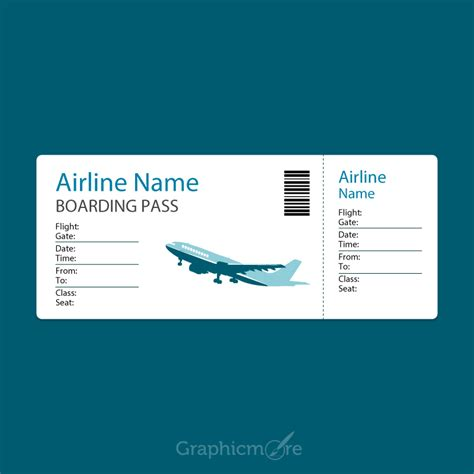 Boarding Card Template by Airline Blue Boarding Pass Template Design Free Vector
