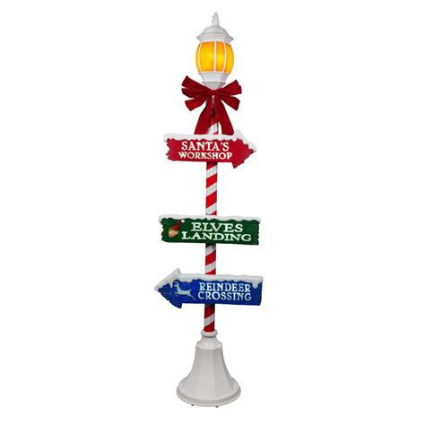 home depot christmas light pole home accents 72 in lpost with led illuminated lantern shop your way