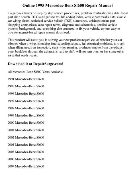 online car repair manuals free 1995 mercedes benz s class parking system 1995 mercedes benz sl600 repair manual online