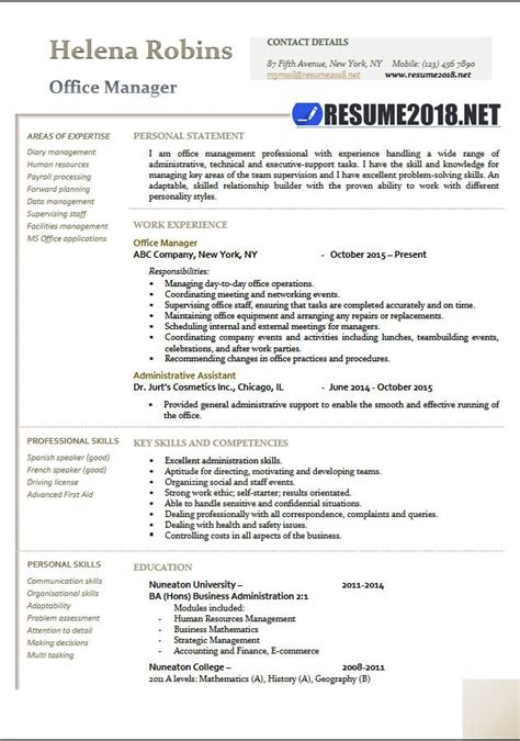 Manager Resume Format by Office Manager 2018 Resume Sles In Word Resume 2018