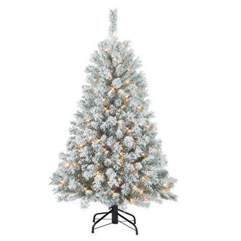 sears flocked trees donner blitzen 4 5 alberta flocked spruce pre lit tree with 200 clear never out