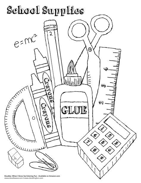 coloring pages of school stuff school supplies colouring pages www imgkid com the